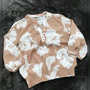 New York & Company • Neutral Floral Blouse • S